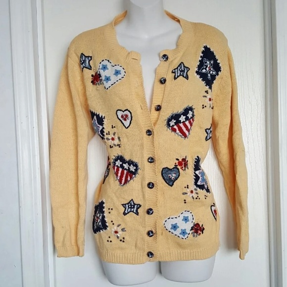 Vintage Sweaters - Mellow Yellow American Flag Artsy Cardigan